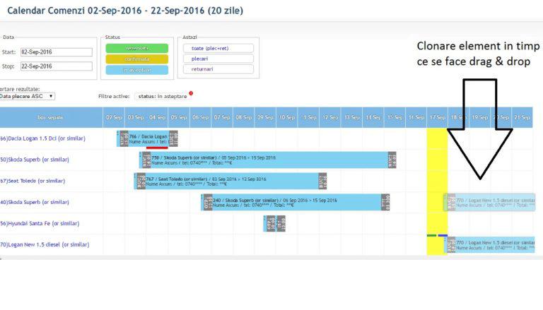 realizare calendar drag & drop php, jquery