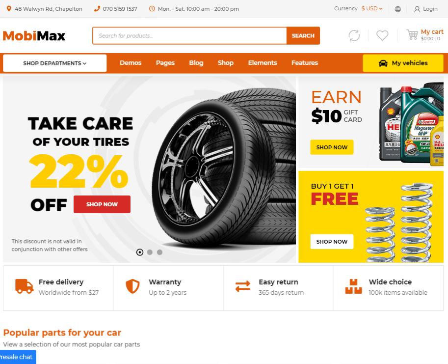 creare site piese auto model 1