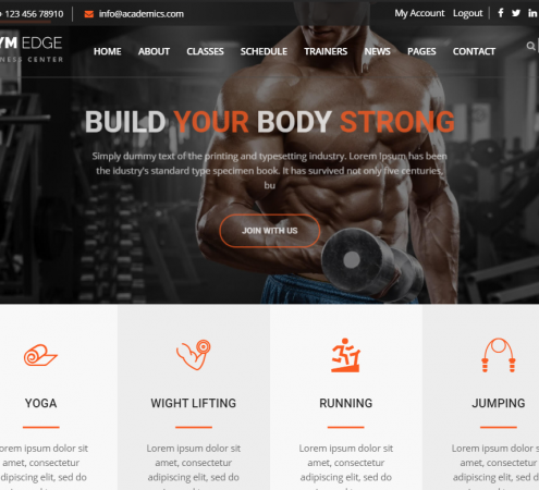 creare site sala fitness model 2